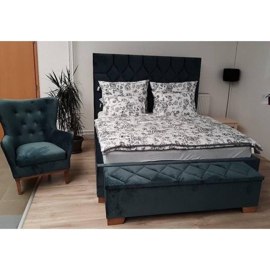Rhombus ágy De Luxe Button fotellal